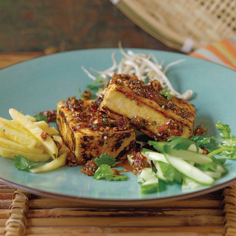 Grilled Tofu with Chile Peanut Sauce (Tauhu Bakar)