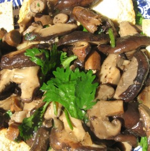 Warm Tofu and Mushroom Salad With Roasted Lemon Relish