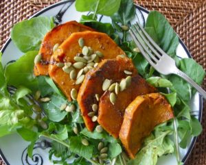 Roasted Pumpkin Salad with Pumpkin Seeds, Chili Vinaigrette and Gratitude