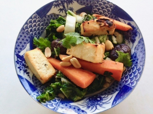 Miso Lacquered Tofu Bowl with Vegetables and Brown Rice