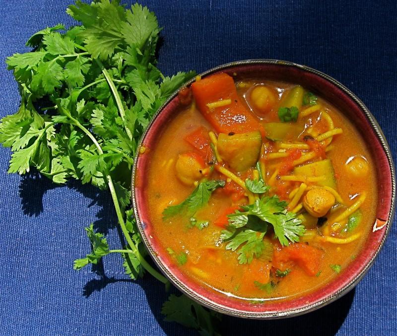 Vegan Harira in a bowl.
