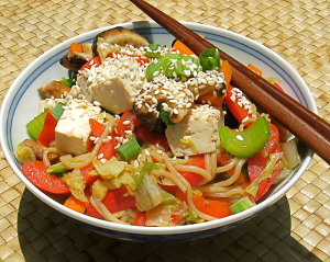 Asian Rice Noodles With Chili, Mint and Lime