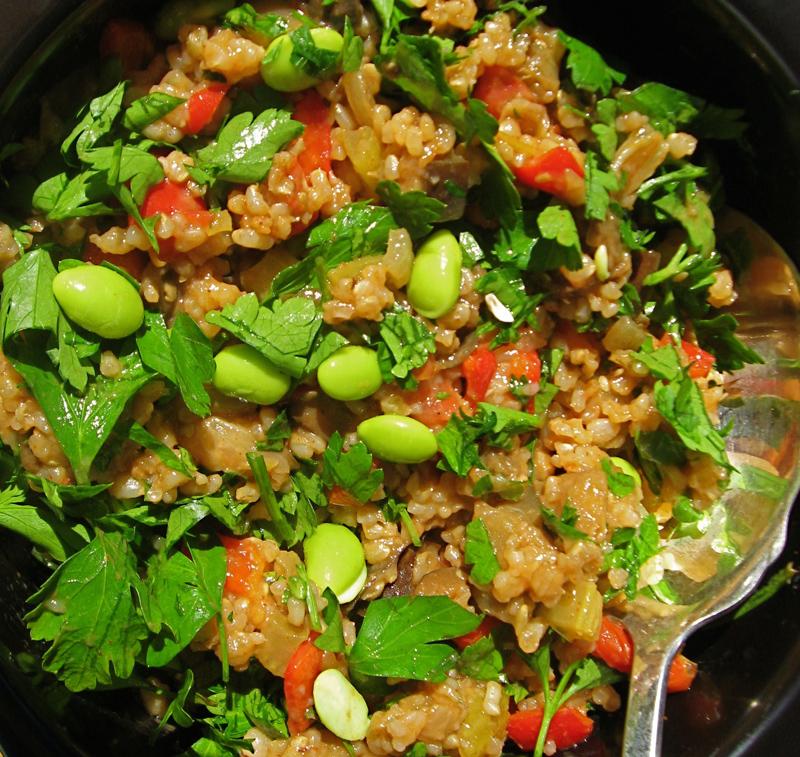 vegan dirty rice in a bowl