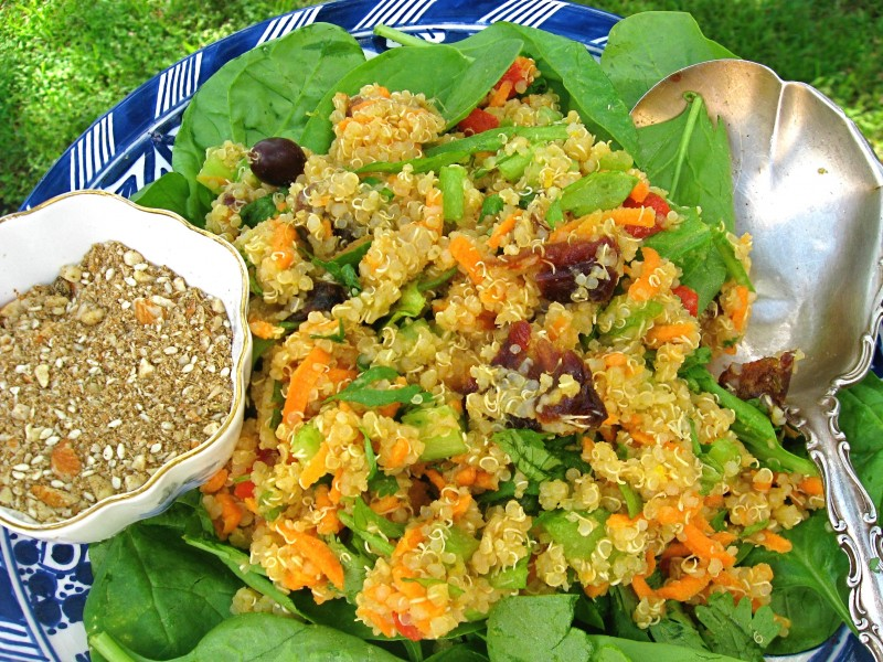 Iftar Quinoa With Olives, Dates and Dukkah