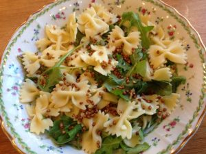 Farfalle with Greens and Buckwheat Crunch
