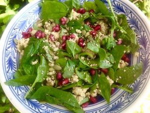 Seven Seed Quinoa With Spinach and Sesame Dressing