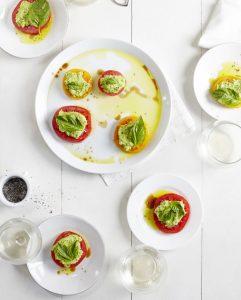 Herbed Pea Ricotta, Tomatoes & Basil
