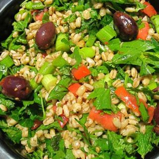 middle eastern biblical barley and herb salad