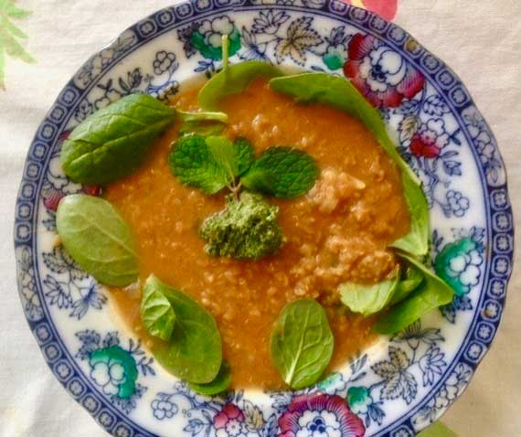 Pursuit of Happiness Red Lentil Soup with Spinach, Mint and Pepita Pesto