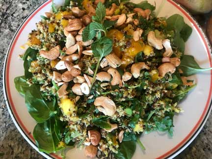 Quinoa with Cashews, Mango and Mint