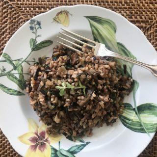 sherried mushroom pilaf is comfort food in a bowl
