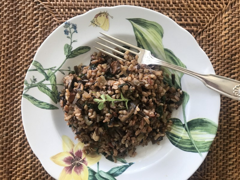 sherried mushroom pilaf is comfort food in a bowl