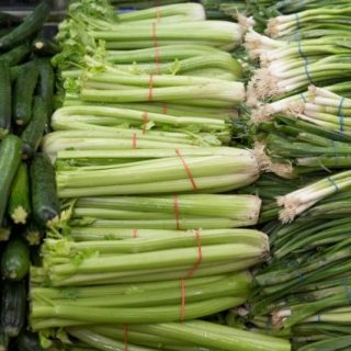zucchini, celery and spring onions for clabacitas