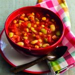 Tomato Corn Green Lima and Okra Soup in a bowl. Photo by Deborah Whitlaw Llewellyn