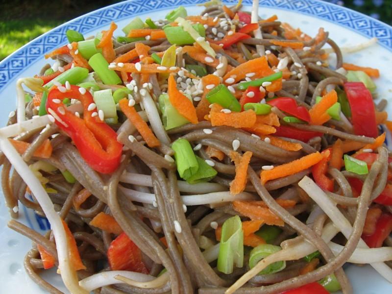 Vietnamese bún rice noodle salad on a plate.